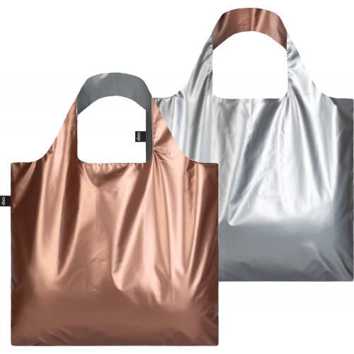 ECOBAG LOQI METALLIC MATT SILVER AND ROSE GOLD BAG